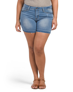 Plus Juniors Release Hem Denim Shorts