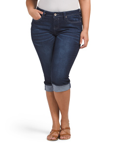 Plus Juniors Denim Rolled Cuff Capris