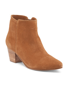 Raw Stacked Heel Suede Booties