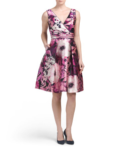 Floral Sateen V Neck Party Dress