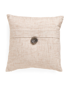 18x18 Faux Linen Textured Button Pillow