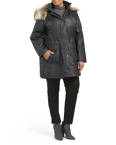 Plus Faux Fur Hooded Puffer Jacket