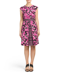 Ikat Rose Print Fit And Flare Dress