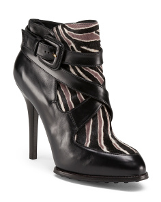 Made In Italy Zebra Haircalf Leather Booties