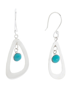 Handcrafted In Mexico Sterling Silver Turquoise Earrings
