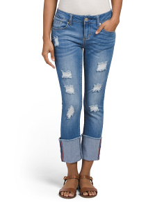 Slim Straight Jeans With High Cuff