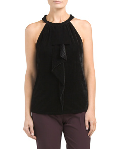 Sleeveless Velvet Ruffle Top