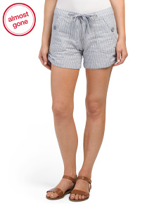 Roll Tab Linen Shorts