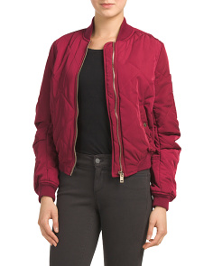 Juniors Quilted Bomber Jacket