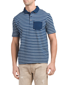 Stripe Polo With Contrast Pocket