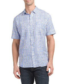 Linen Short Sleeve Print Shirt