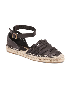 Made In Spain Leather Lined Espadrilles With Ankle Detail