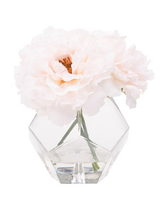 8in Faux Peony In Geometric Glass