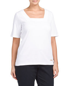 Plus Short Sleeve Square Neck Top