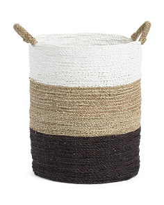 20in Round Seagrass Striped Basket