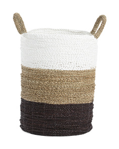 19in Round Seagrass Striped Basket