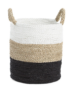 13in Round Seagrass Striped Basket