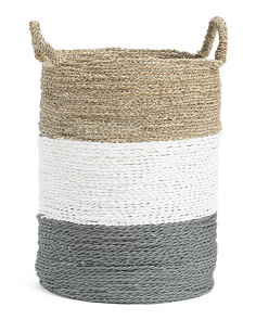 17in Round Seagrass Striped Basket