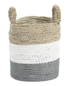 Round Seagrass Striped Basket