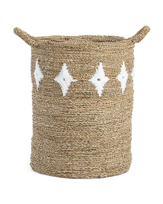 20in Seagrass Basket With Floral Motif