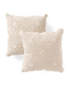 Made In India 18x18 2pk Natural Dori Lace Pillows