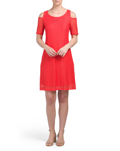 Dot Lace Dress With Cold Shoulder