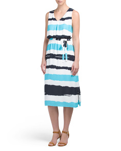 Printed Midi Dress With Self Sash