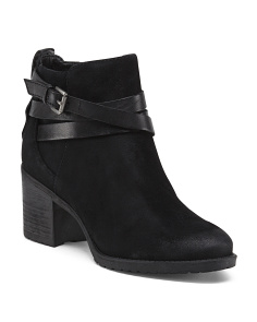 Suede Buckle Heel Booties