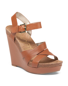 Nelson Criss Cross Leather Wedges