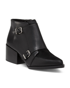 Reese Buckle Leather Booties