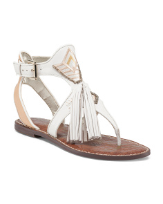 Fringed Dual Tassel Leather Sandals