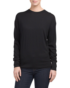Merino Wool High Rib Crew Neck Sweater
