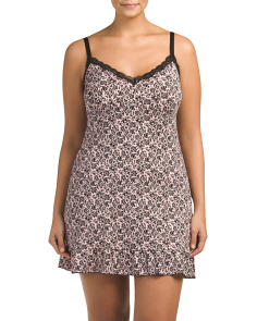 Plus Twin Print Chemise With Lace