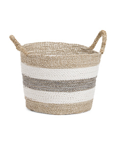 Small Striped Seagrass Storage Bin