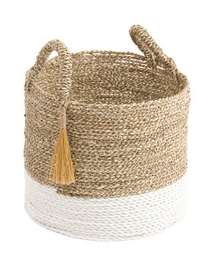 Medium Seagrass Rafia Basket With Tassel