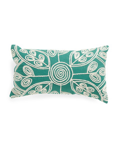 Made In India 12x20 Corded Trim Floral Pillow