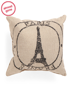 18x18 Paris Stamp Pillow