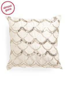Made In India 16x16 Scallop Beaded Shimmer Pillow