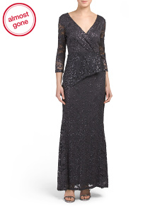 All Over Sequin Lace Gown