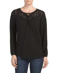 Lace Yoke Top With Pleated Sleeves