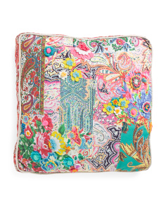 Made In India Oversized Patchwork Pillow With Flowers