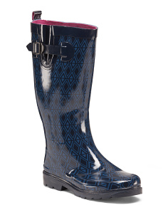 Diamond Rows Printed Rain Boots