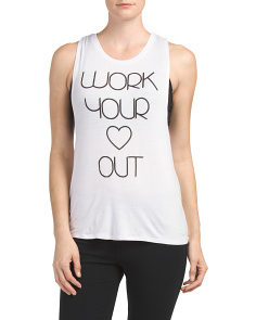 Work Your Heart Out Twist Back Tank