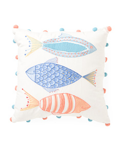 Made In India 18x18 Embroidered Fish Pillow