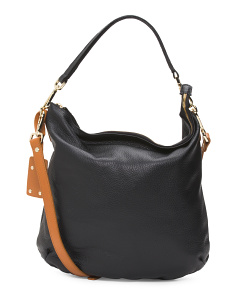 Made In Italy Detachable Handle Leather Hobo