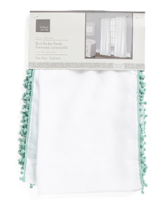 40x84 Kids Pom Pom Trim Set Of 2 Curtains