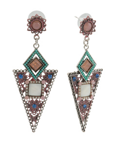 Pink Mosaic Enamel Arrow Earrings