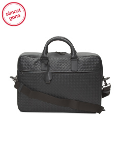 Made In Italy Woven Leather Briefcase