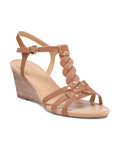 Braided Leather Wedge Sandals
