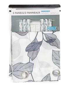 55x84 Faux Silk Leaf Print Curtains